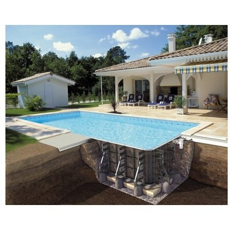 Piscine en beton semi enterr e pictures to pin on pinterest - Prix piscine desjoyaux 9x4 5 ...